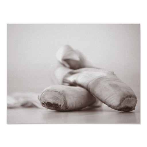 Ballet Pointe Shoes on Dance Floor Template Posters