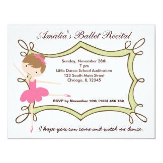 """Ballet Recital 4.25"""" X 5.5"""" Invitation Card"""