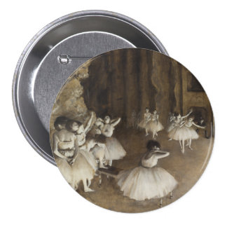 Ballet Rehearsal On Stage by Edgar Degas 3 Inch Round Button