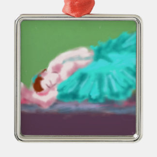 Ballet Resting Art Silver-Colored Square Ornament