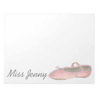 Ballet Shoe Personalized Dance Teacher Notepad