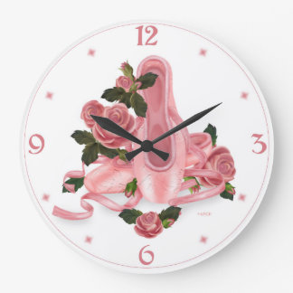 BALLET SHOES DANCE LARGE ROUND CLOCK LARGE