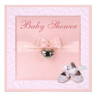 Ballet Shoes Locket Girls Pink Baby Shower Announcement