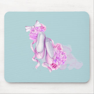 Ballet Shoes with Fancy Peonies and Bow Mouse Pad