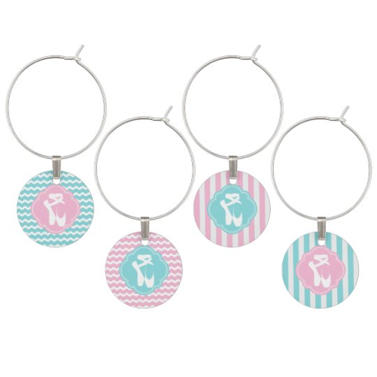 Ballet Slippers in Pink and Blue Wine Glass Charms