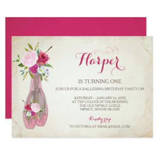 Ballet Slippers Invitation, Ballerina Card