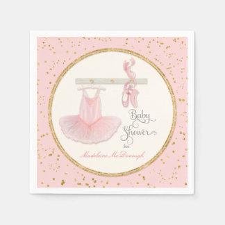 Ballet Slippers n Tutu Little Girl Baby Shower Paper Napkin