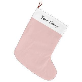 Ballet Slippers Pink Solid Color with Name Large Christmas Stocking