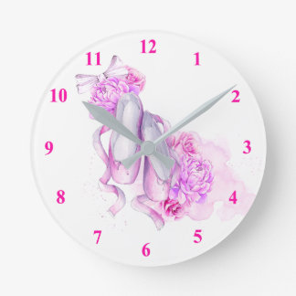 Ballet Slippers Round Clock