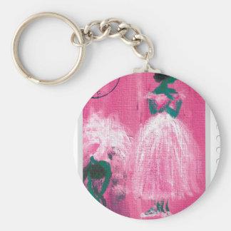 Ballet stamp by Marie L. Basic Round Button Keychain