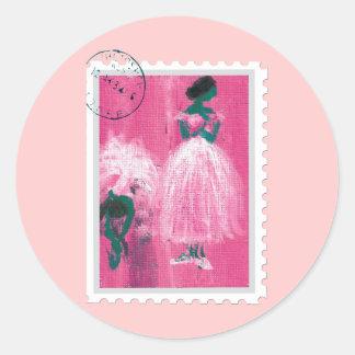 Ballet stamp by Marie L. Round Sticker