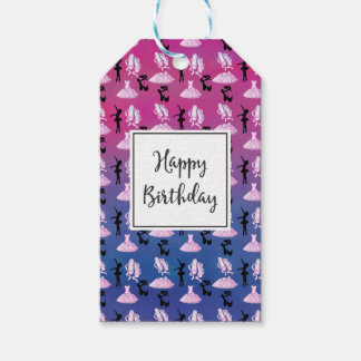 Ballet Theme Pattern with Dance Attire Birthday Gift Tags