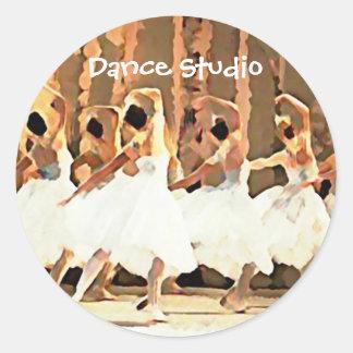 Ballet White Tutus On Stage Dance Classic Round Sticker