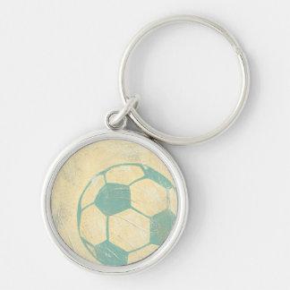 Ballon de football bleu en pastel par Chariklia Porte-clé Rond Argenté