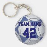 Ballon de football bleu et blanc porte-clef