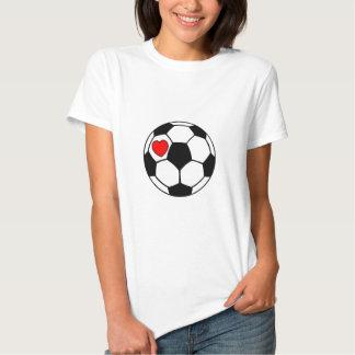 Ballon de football (coeur rouge) tee shirts