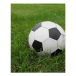 Ballon de football dans l'herbe affiches