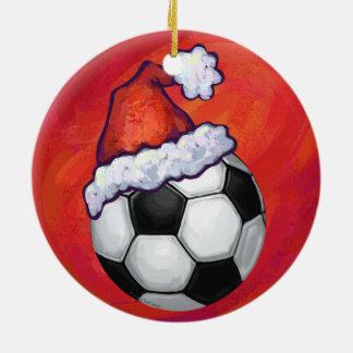 Ballon de football de chapeau de Père Noël sur le Ornement Rond En Céramique