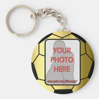 Ballon de football d'or de photo personnalisable porte-clé rond
