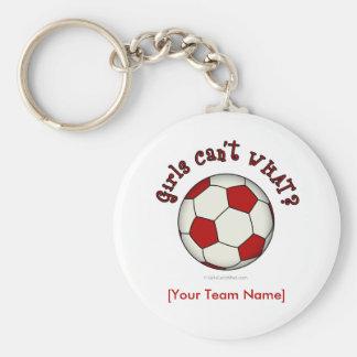 Ballon de football en rouge porte-clé rond