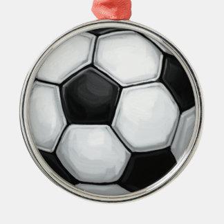 Ballon de football ornement rond argenté