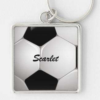 Ballon de football personnalisable du football porte-clé carré argenté