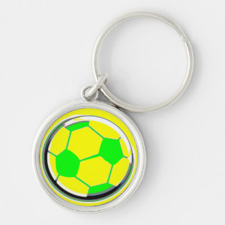 Ballon de football porte-clé rond argenté