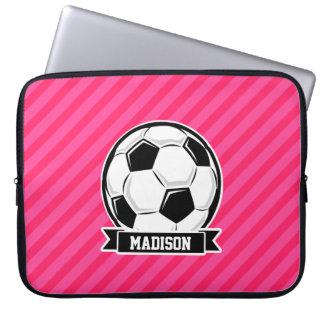 Ballon de football sur les rayures roses au néon trousses pour ordinateur portable