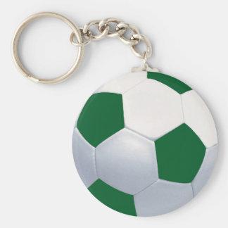 Ballon de football vert et blanc Keychain