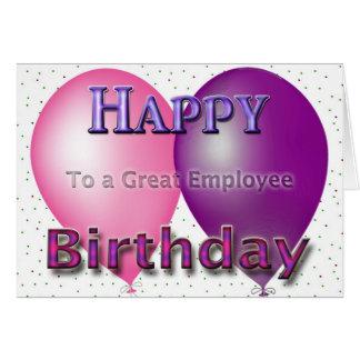 Ballons de joyeux anniversaire des employés carte de vœux