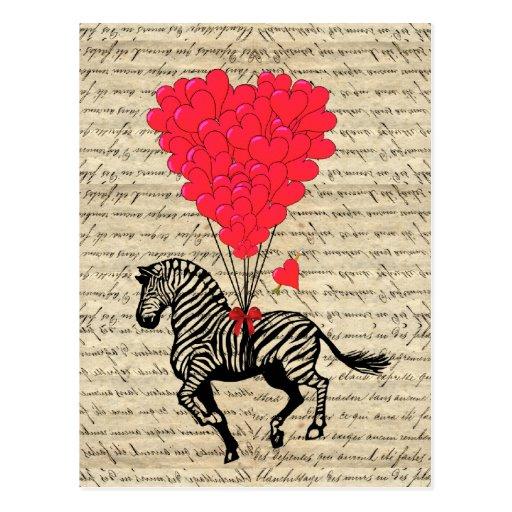 Ballons vintages drôles de zèbre et de coeur cartes postales