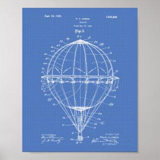 Balloon 1923 Patent Art Blueprint Poster