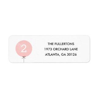 Balloon Address Label - Peach
