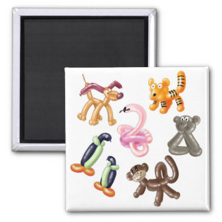 BALLOON ANIMAL PARTY SQUARE MAGNET