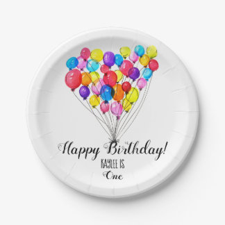 BALLOON Birthday | Heart | Rainbow colors Paper Plate