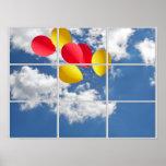 balloon bouquet in sky thru window poster