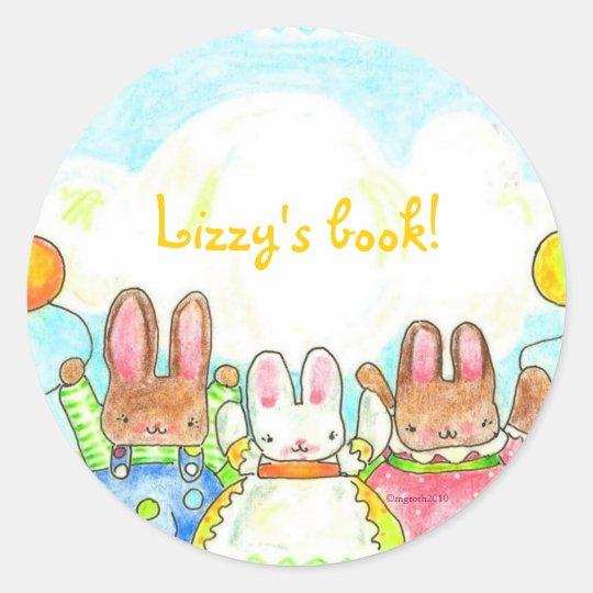 balloon bunnies bookplate classic round sticker