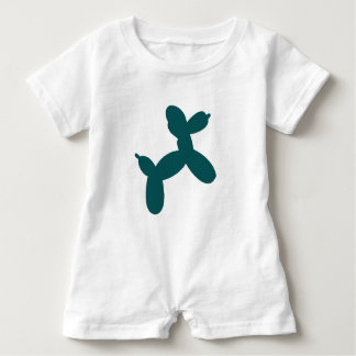 Balloon Dog Baby Romper, Teal Baby Romper