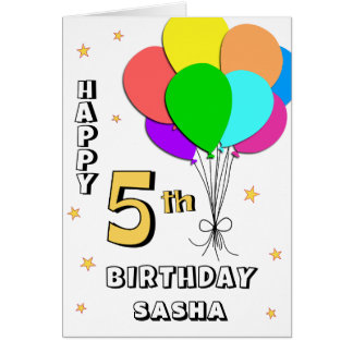 Balloon Filled 5th Birthday Card