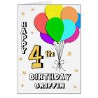 Balloon Filled Fun 4th Birthday Greeting Card