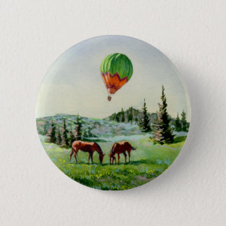 BALLOON & HORSES by SHARON SHARPE 2 Inch Round Button