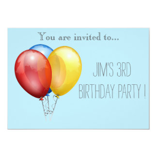 Balloon infant or toddler young kid birthday party 5x7 paper invitation card