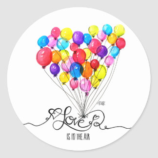 BALLOON LOVE is in the Air | Heart | Valentines Classic Round Sticker