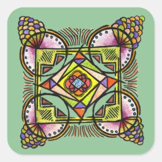 balloon mandala sticker with free hand hippie art