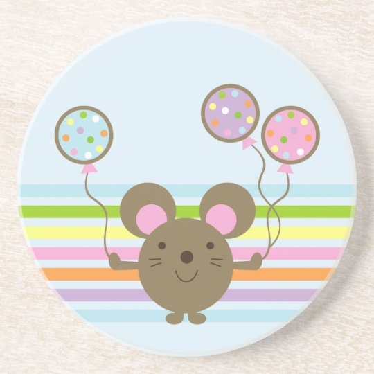 Balloon Mouse Blue Coaster