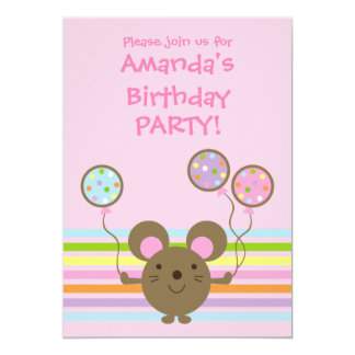 Balloon Mouse Pink Birthday Party Invitation