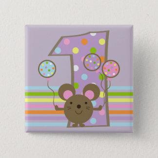 Balloon Mouse Purple 1st Birthday Button