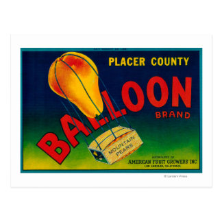 Balloon Pear Crate Label Postcard