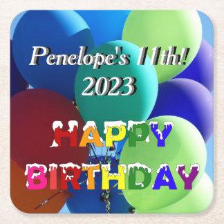 Balloon Rainbow Happy Birthday Square Paper Coaster