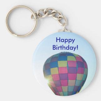 Balloon Sun burst Happy Birthday! Keychain